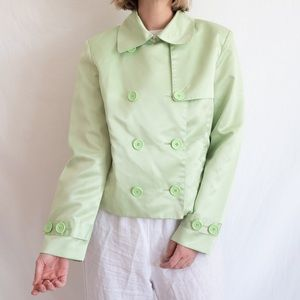 Super-soft Shiny Green Jacket Coat